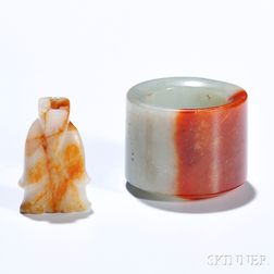 Jade Archer's Ring and a Figural Bead