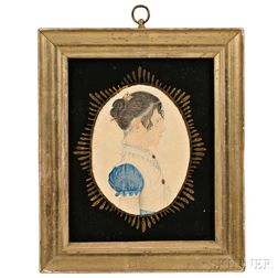Rufus Porter (Connecticut/Massachusetts, 1792-1884)      Profile Portrait of a Young Woman