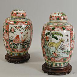Pair of Covered Famille Verte Jars