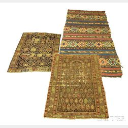 Two Shirvan Prayer Rugs and a Kilim