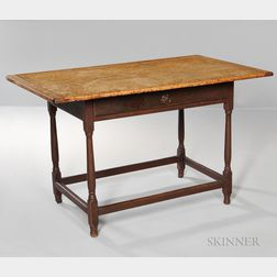 Red-painted, Turned-leg, Scrub-top Tavern Table with Drawer