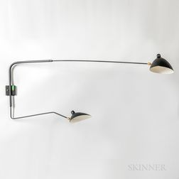 """Two-arm Adjustable Wall Sconce in the Style of Serge Moulle's """"Applique Simple a Deux Bras,"""""""