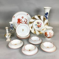 Eighteen Pieces of Meissen and Rosenthal Porcelain Tableware.     Estimate $200-250