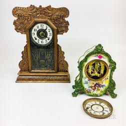 Carved Oak Gingerbread Shelf Clock and an Ansonia Ceramic Mantel Clock.     Estimate $100-150
