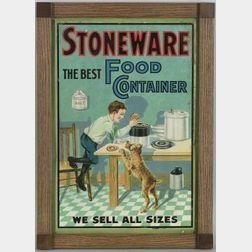 Chromolithographed Tin Stoneware Advertising Sign
