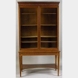 George III Style Inlaid Plum Pudding Mahogany Bookcase Cabinet on Stand
