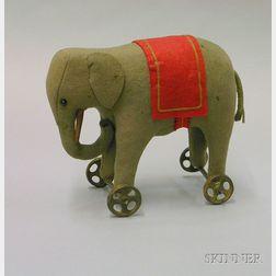 Steiff Gray Felt Elephant on Wheels