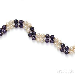 Amethyst Bead and Cultured Pearl Necklace