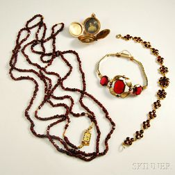 Group of Garnet and Paste Jewelry Items