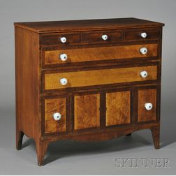 Federal Cherry and Bird's-eye Maple and Mahogany Veneer Half Sideboard