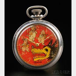 "Walt Disney's ""Big Bad Wolf"" Pocket Watch by Ingersoll"