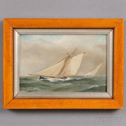 Paul Breem (American, 19th Century)      Sloop Yacht Puritan  .