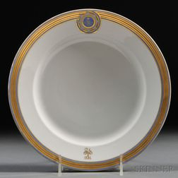 Russian Imperial Porcelain Factory Plate from Her Majesty's Guard   Cuirassier Regiment Service