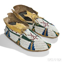 Cheyenne Beaded Hide Pictorial Moccasins