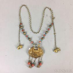 Gilt-metal Repousse Necklace