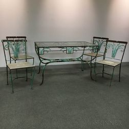 Art Deco Green-painted Glass-top Wrought Iron Outdoor Table and Four Chairs