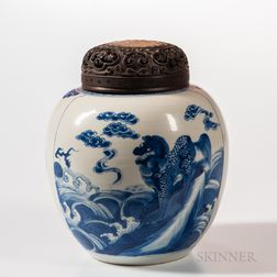 Blue and White Ginger Jar with Carved Wood Cover