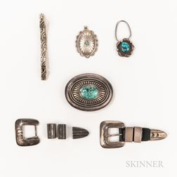 Navajo Silver Belt Buckles and Jewelry