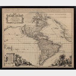 Amerique Septentrionale & Meridionale Divisee en ses Principales Parties Scavoir les Terres Arctiques, le Canada en Nouvelle France, le