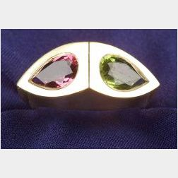 18kt Gold and Gem-set Twin-stone Ring