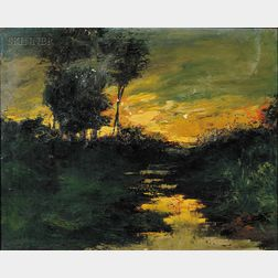 Lot of Two Landscapes:      Hamilton King (American, 1871-1952), View at Sunset