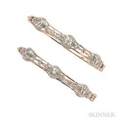 Pair of 14kt Gold, Emerald, and Diamond Bracelets