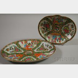 Rose Medallion Decorated Oval Porcelain Platter and Shaped Dish