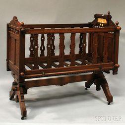 Hazard Crib Co. Victorian Eastlake-type Carved Walnut Rocking Platform Crib