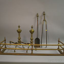 Five Pieces of Brass Fireplace and Hearth Equipment