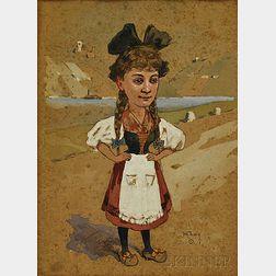Henry François Farny (American, 1847-1916)    Girl in Dutch Costume, Possibly Alice in Wonderland