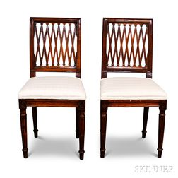 Pair of Louis XVI Carved Fruitwood Side Chairs