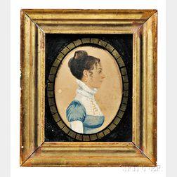 Rufus Porter (Connecticut/Massachusetts, 1792-1884)      Profile Portrait Miniature of a Woman in a Blue Dress