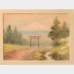 Japanese School, 20th Century      Torii with Fujiyama