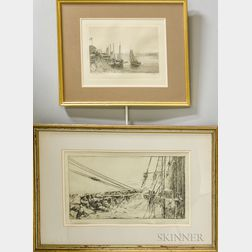 Two Framed Maritime Etchings:      Arthur Briscoe (British, 1873-1943), All Hands