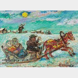 David Davidovich Burliuk (Ukrainian/American, 1882-1967)      Night Ride