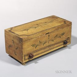 Yellow-painted Box with Single Drawer