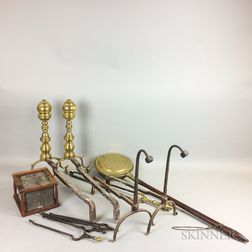 Group of Brass, Iron, and Wood Hearth Tools.     Estimate $200-300