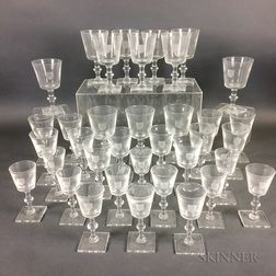 Thirty-six-piece Set of Colorless Glass Stemware