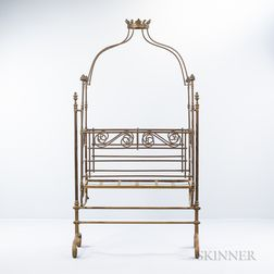 French Brass, Copper, and Gilt-iron Rocking Crib