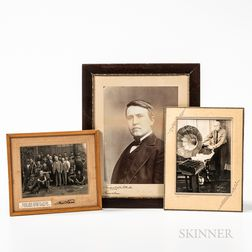 Signed Thomas Edison Photograph and Two Other Photographs