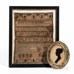 Dorcas Barrett's Needlework Sampler and Silhouette