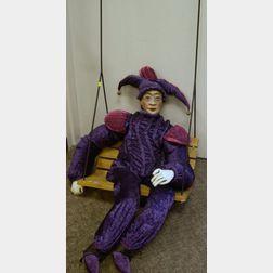VINTAGE OLD ODD STRANGE Court Jester Clown Playing Trumpet PIC Photo RARE