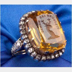 Citrine Intaglio and Diamond Ring