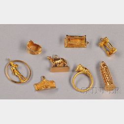 Group of 18kt Gold Tourist Charms