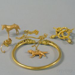 Small Group of Gold Animal Jewelry