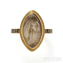 Antique Gold and Enamel Mourning Ring
