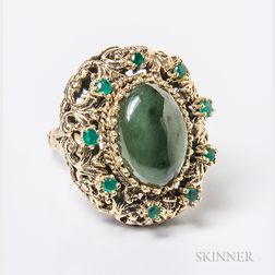 Gold-plated Nephrite Cocktail Ring