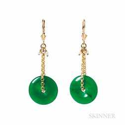 Gold and Jade Earrings