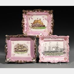 Three Sunderland Pink Lustre Transfer-decorated Pottery Plaques with Vessels