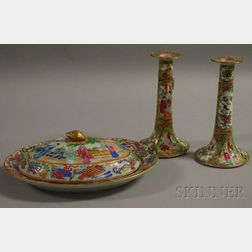 Rose Mandarin-decorated Porcelain Covered Platter and a Pair of Rose Medallion   Candlesticks